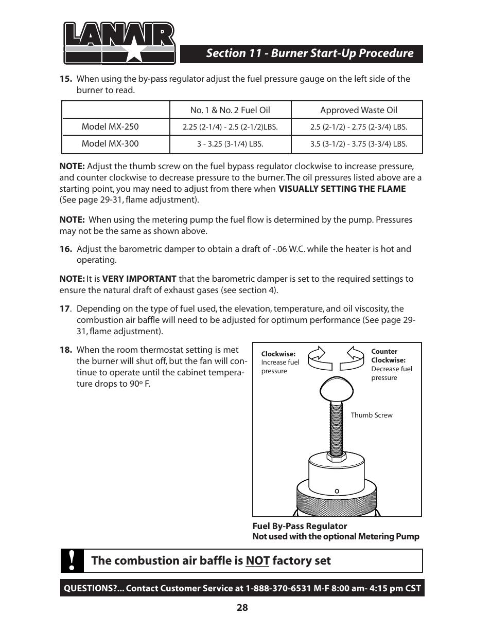 the combustion air baffle is not factory set lanair mx300 user rh manualsdir com