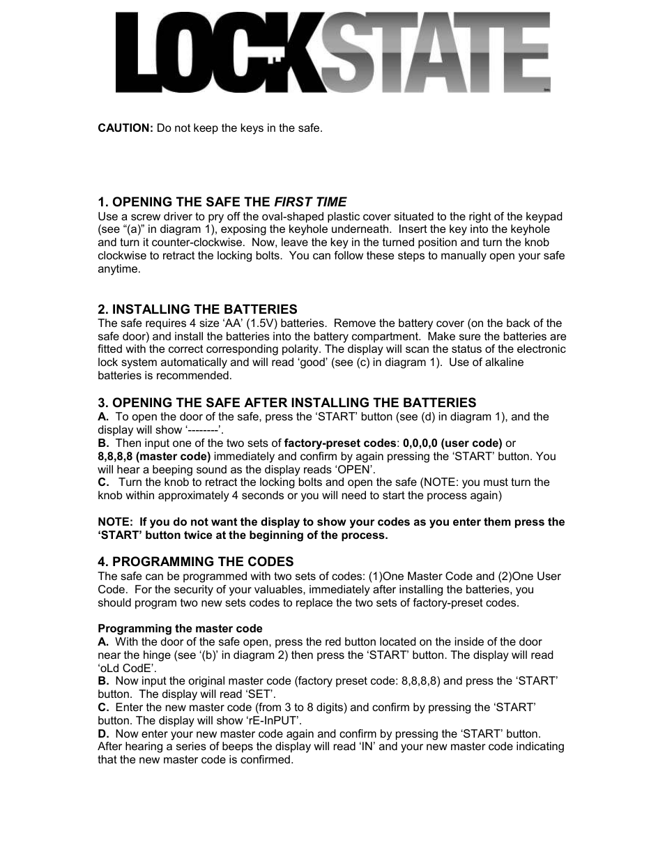 LOCKSTATE LS-20ED User Manual | 3 pages