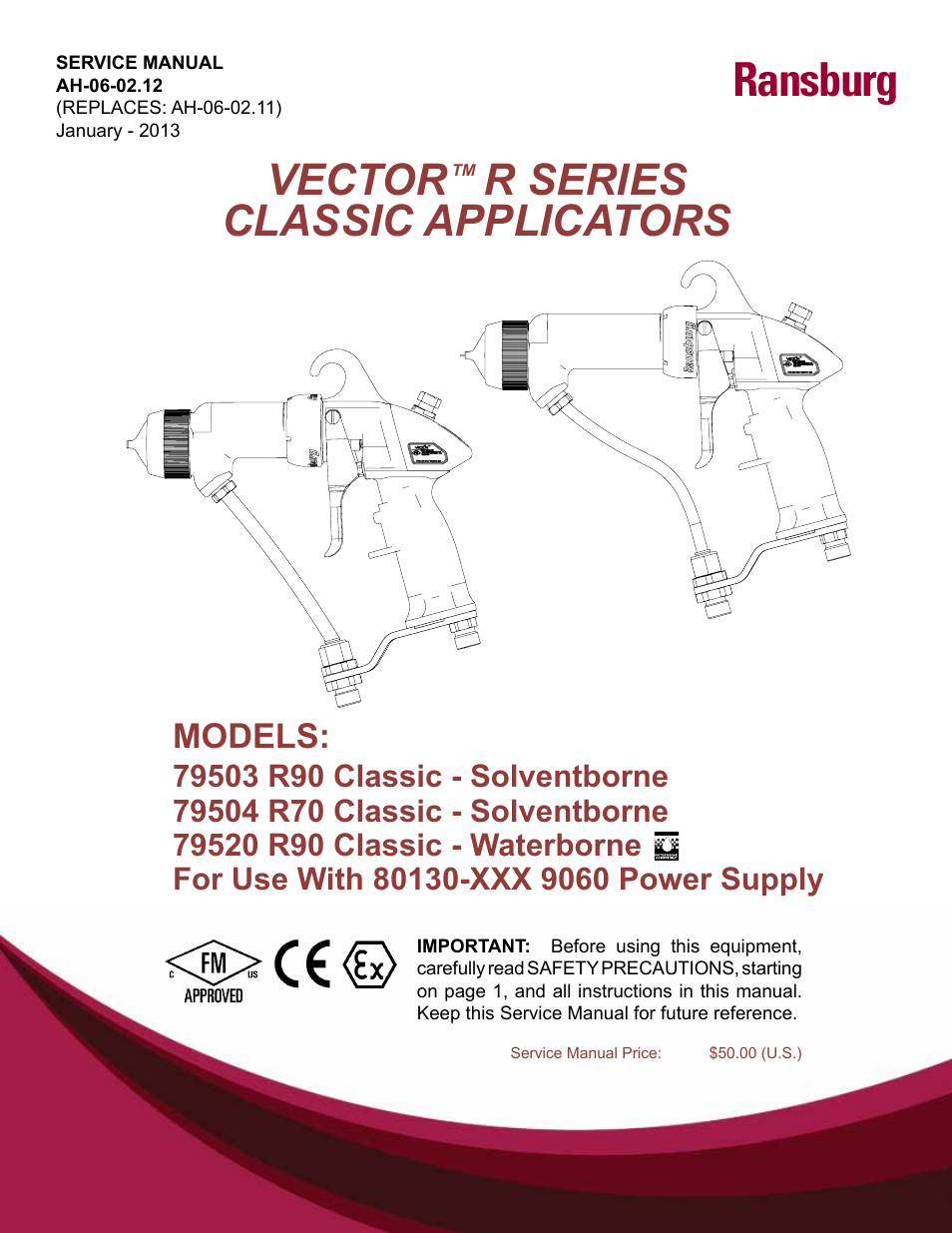 Ransburg vector r series classic 79520 r90 waterborne user for Vector canape user manual
