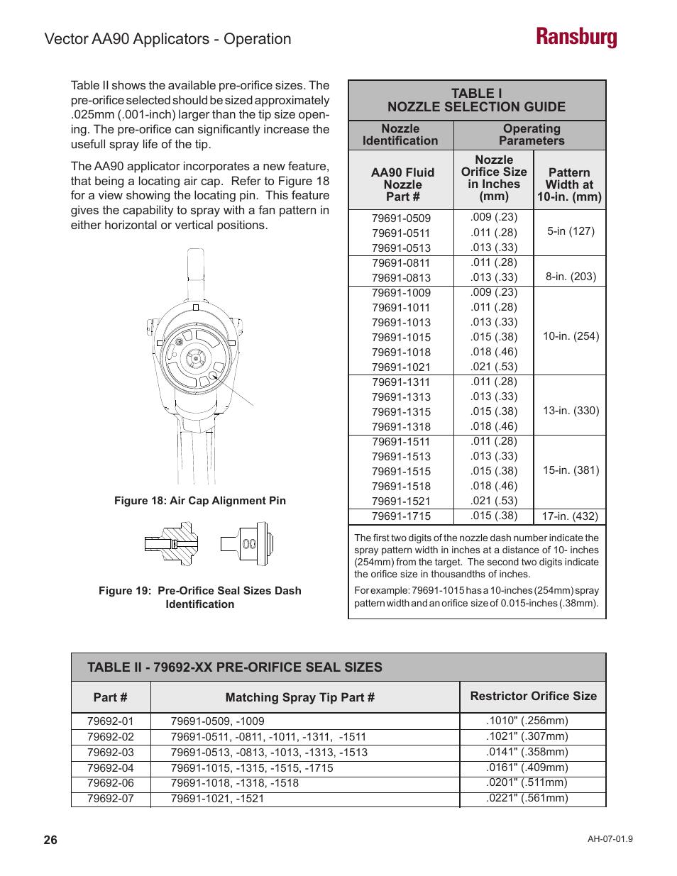 Ransburg vector aa90 applicators operation ransburg for Vector canape user manual