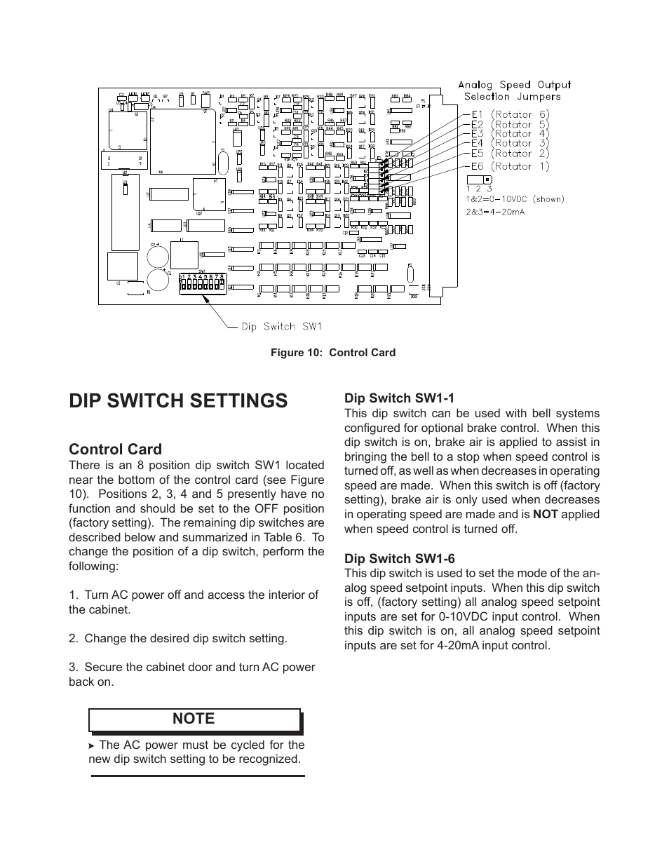 Dip switch settings, Control card | Ransburg PulseTrack2