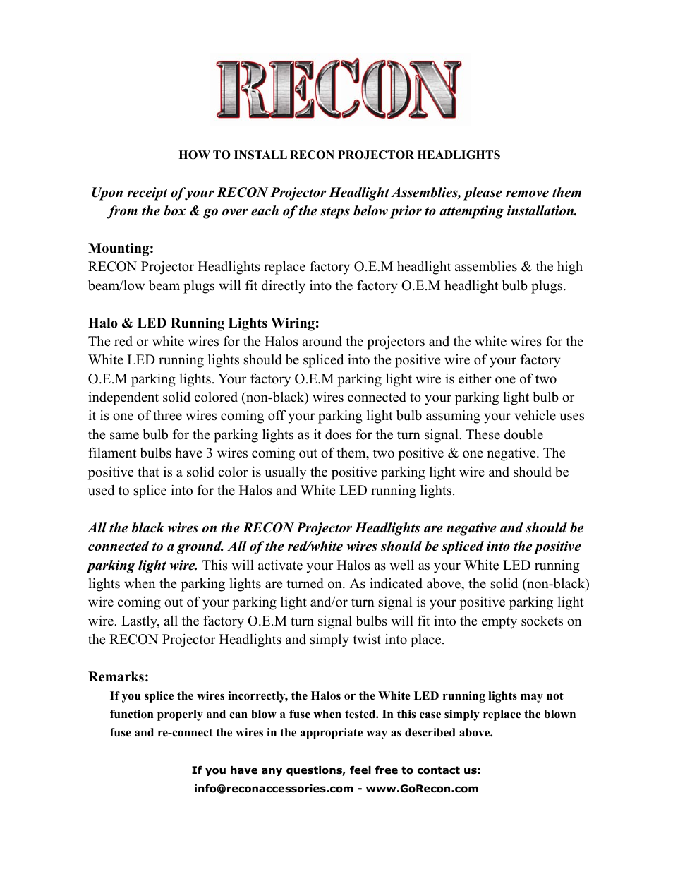Recon Projector Headlights Universal User Manual 1 Page The Factory Wiring Or Po Of Our Before