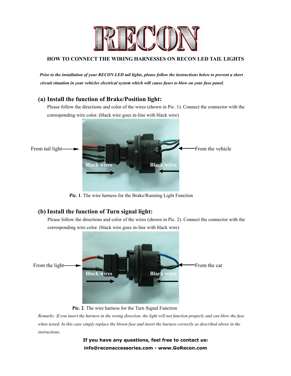 Recon Led Tail Lights To Factory Harnesses User Manual 1 Page Wiring Harness Connect Colors