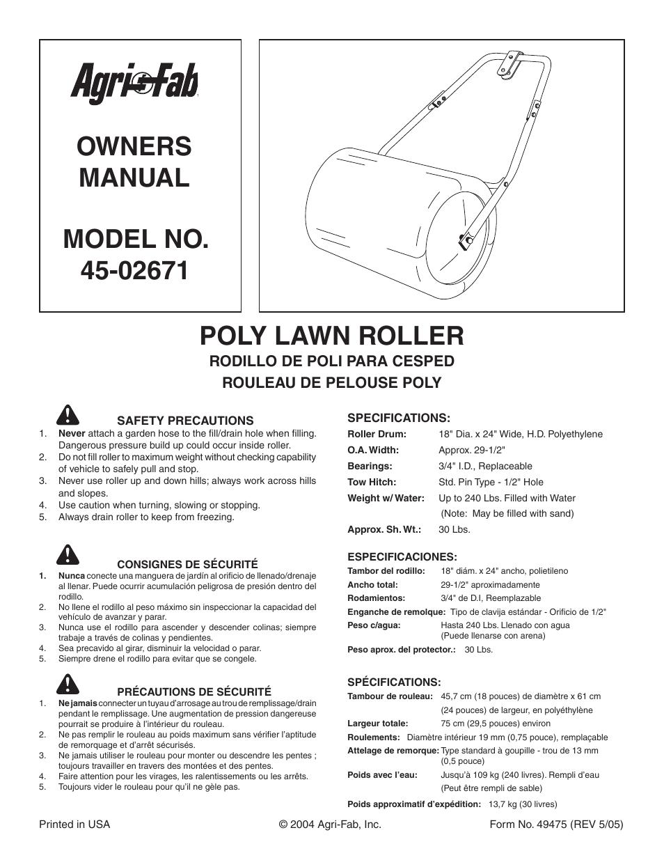 agri fab poly lawn roller 45 02671 user manual 2 pages original mode rh manualsdir com Agri-Fab Tow Behind Spreader Agri-Fab Snow Blowers