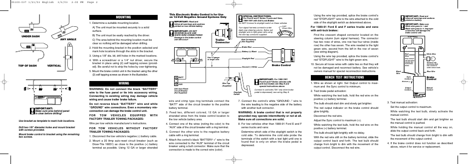 Bench test instructions, Mounting, Wiring | Reese 83501 BRAKEMAN COMPACT  BRAKE CONTROL User Manual | Page 2 / 6 | Reese Wiring Diagram |  | Manuals Directory