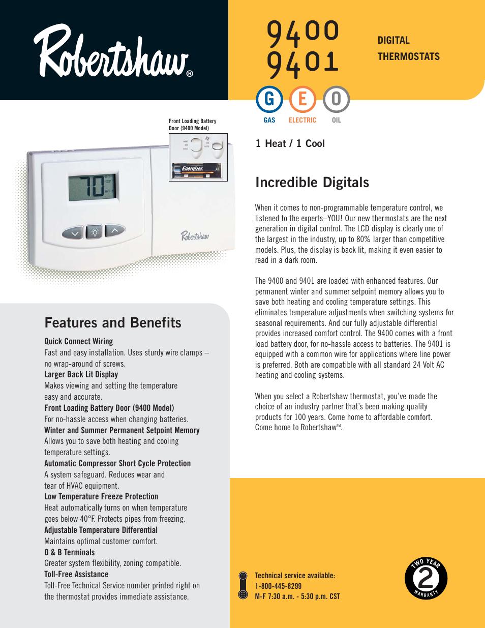 Robertshaw 9401 User Manual
