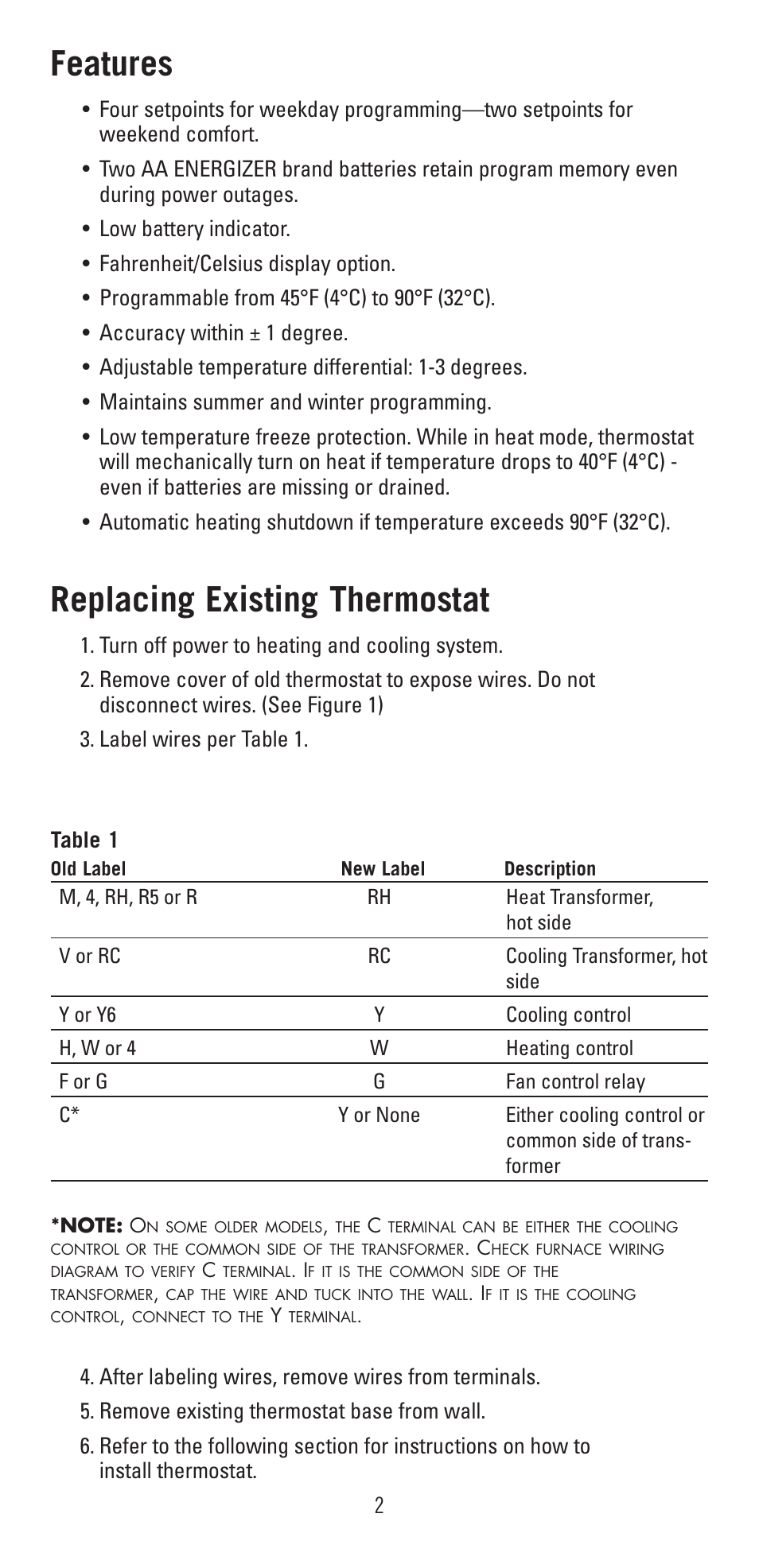 Features Replacing Existing Thermostat Robertshaw 9600 User Wiring Diagram Older Furnace Blower Relay Manual Page 2 12