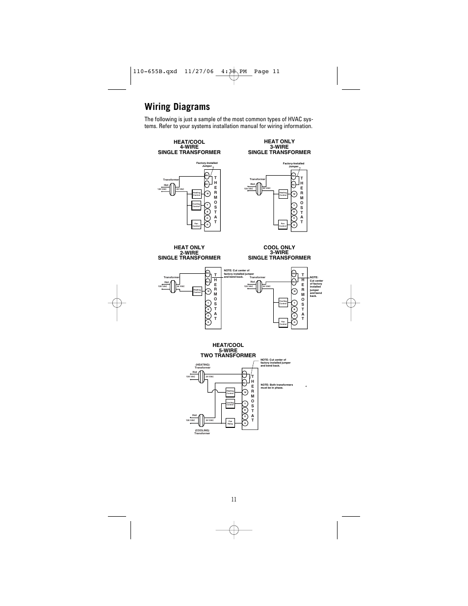 Wiring diagrams, Cool only 3-wire single transformer, Heat/cool 5-