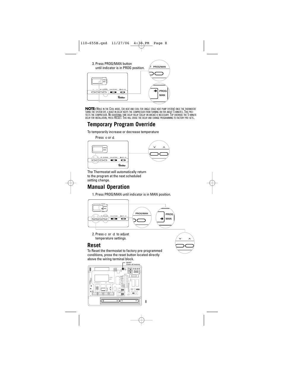Robertshaw Thermostat 9610 Wiring Diagram Manual Of Maple Chase Emerson Rh Neckcream Co Temporary Program Override Operation Reset Manualsdir Com