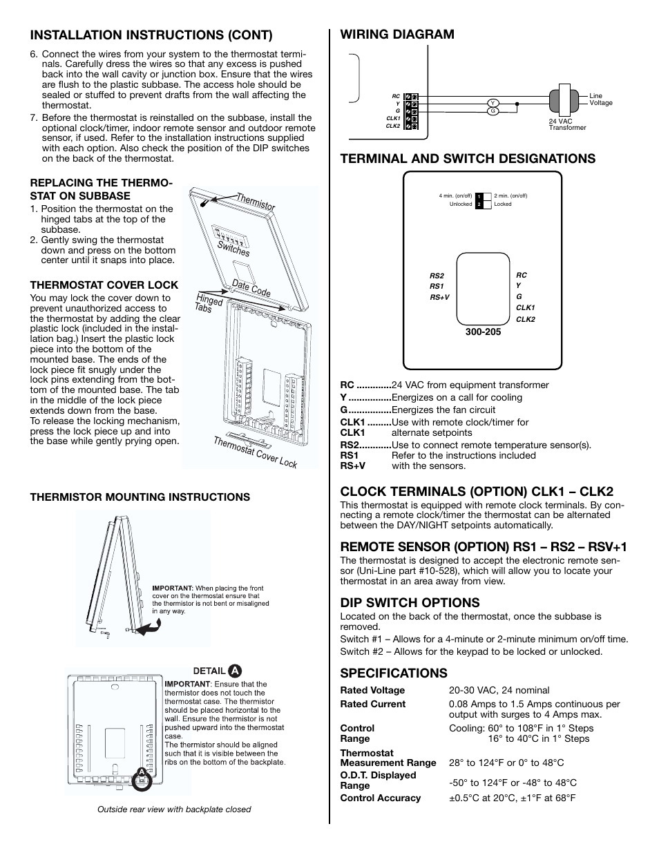 Installation instructions (cont), Wiring diagram terminal ... on