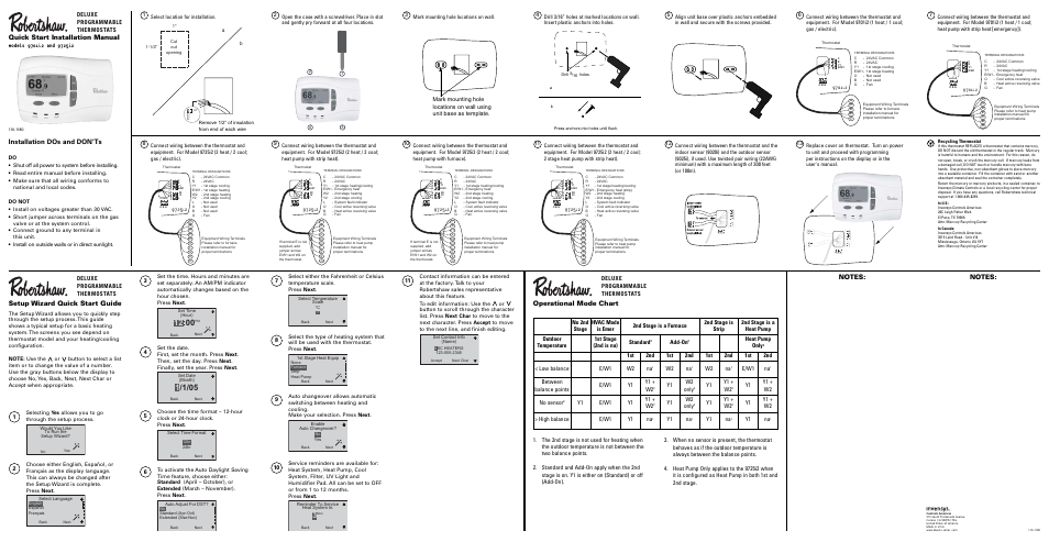 Robertshaw 9725i2 INSTALLATION User Manual 1 page – Robertshaw Thermostat Wiring Diagram
