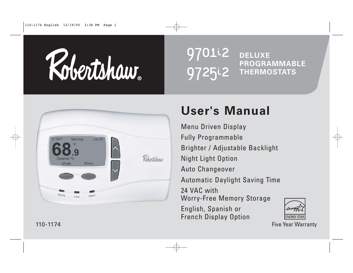 robertshaw 9725i2 users manual user manual 32 pages also for rh manualsdir com Craftsman Snowblower Manual Craftsman Snowblower Manual