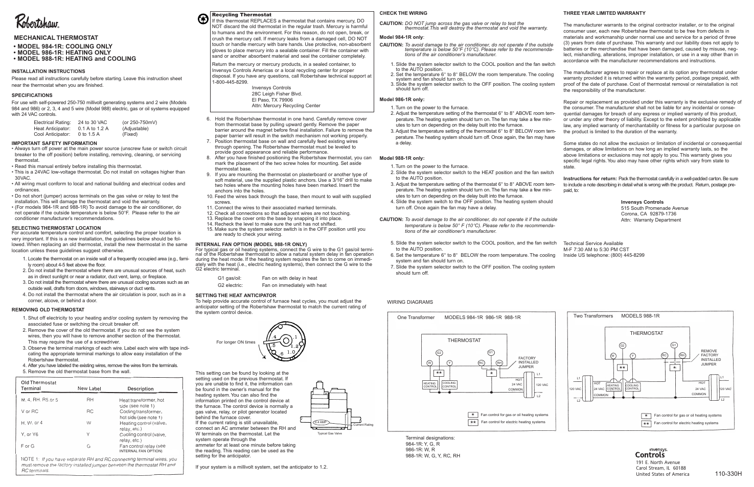 Robertshaw 988 1r User Manual 2 Pages Also For 986 984 Jump Relay Switch