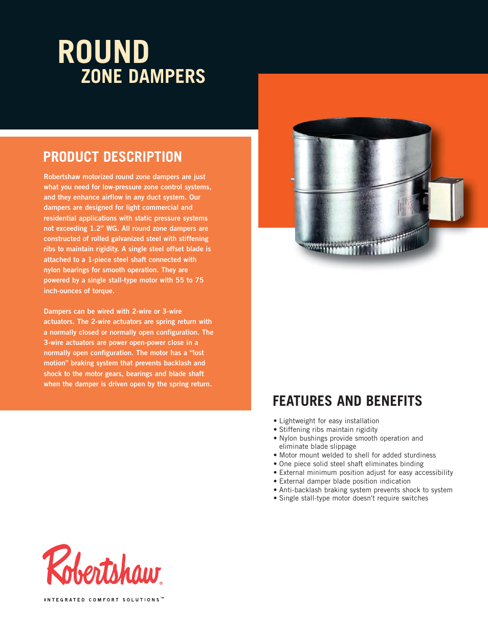 Robertshaw ROUND ZONE DAMPERS User Manual | 2 pages