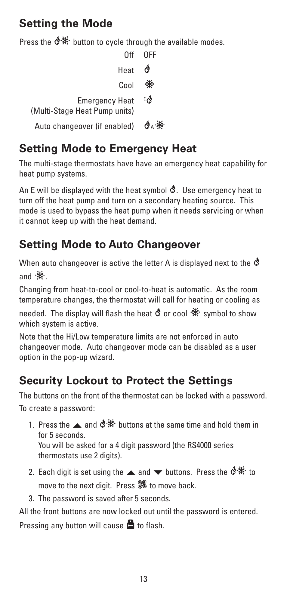 Setting The Mode Setting Mode To Emergency Heat Setting Mode To