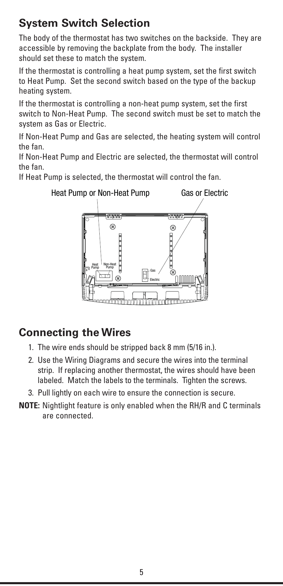 Robert Shaw Thermostat 5 Wire Diagram Guide And Troubleshooting Of Ac Wiring Colors System Switch Selection Connecting The Wires Heat Pump Or Non Rh Manualsdir Com 4