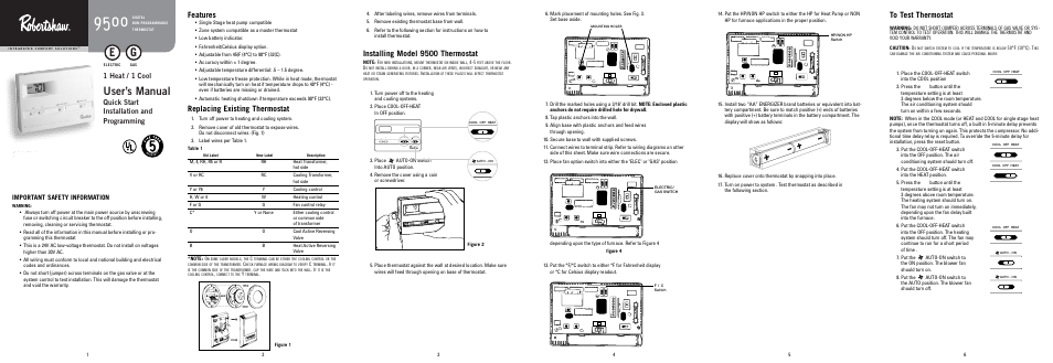 robertshaw 9500 page1 robertshaw 9500 user manual 11 pages Thermostat Wiring Color Code at edmiracle.co