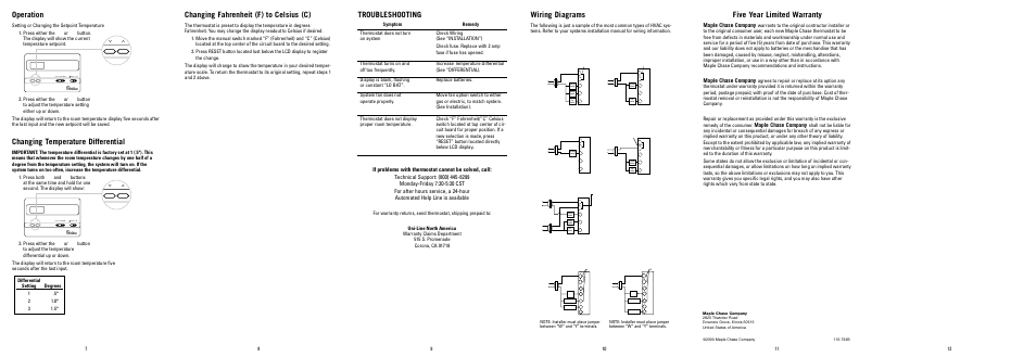operation  changing temperature differential  troubleshooting