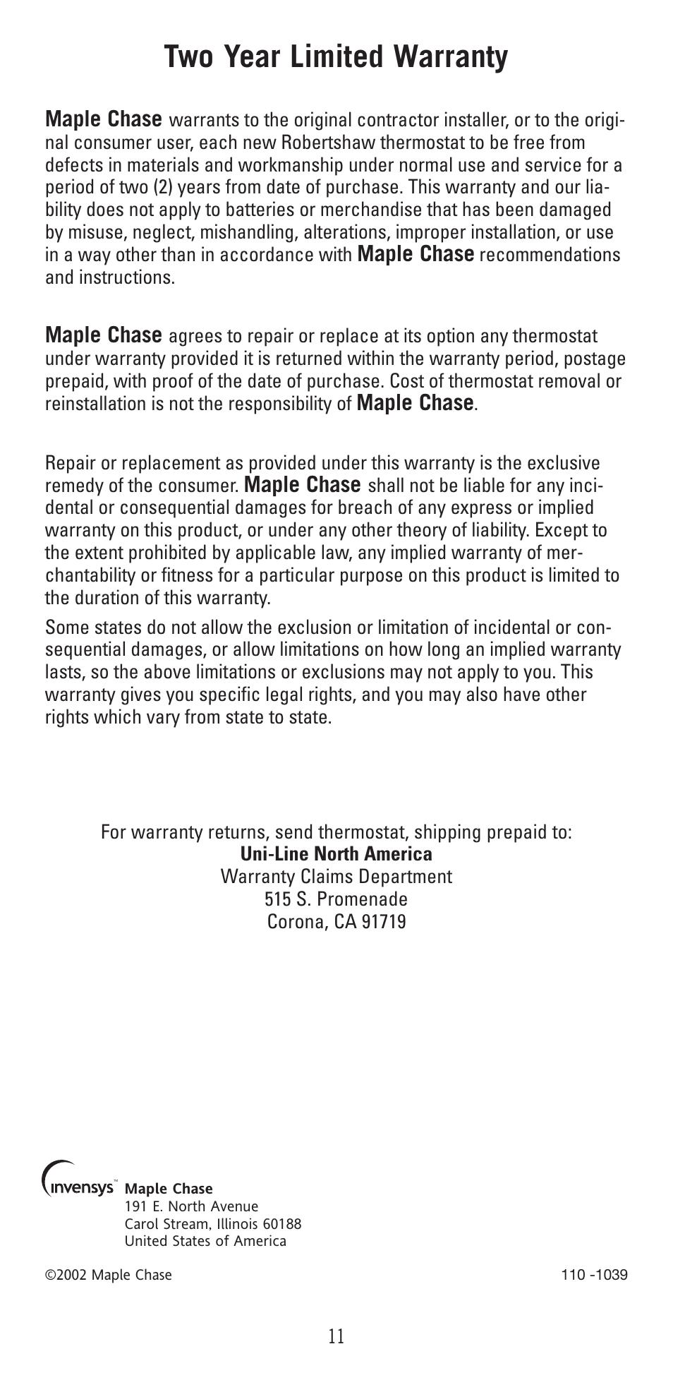 Two Year Limited Warranty Robertshaw 9400 User Manual border=