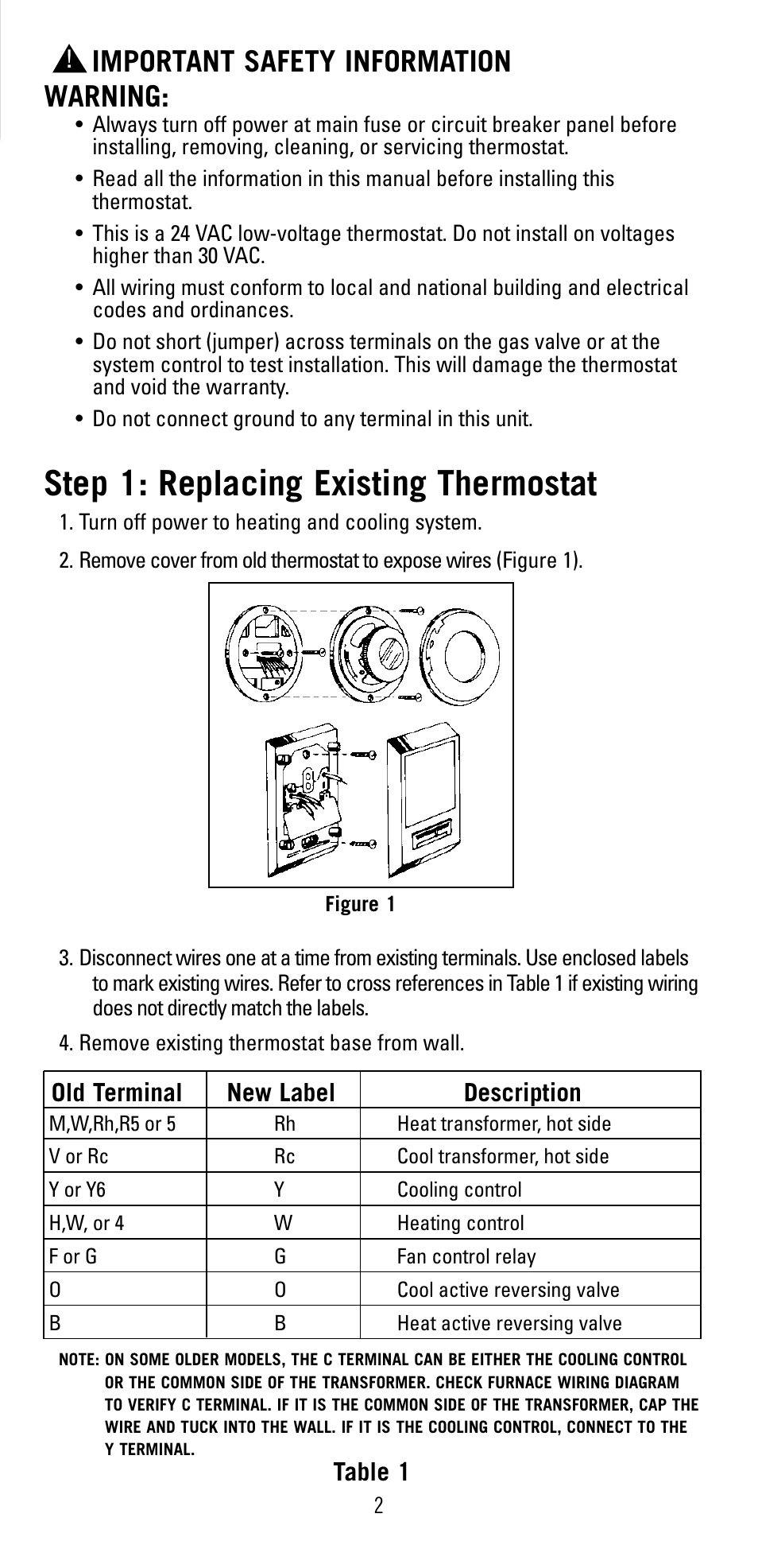 Step 1  Replacing Existing Thermostat  Important Safety Information Warning