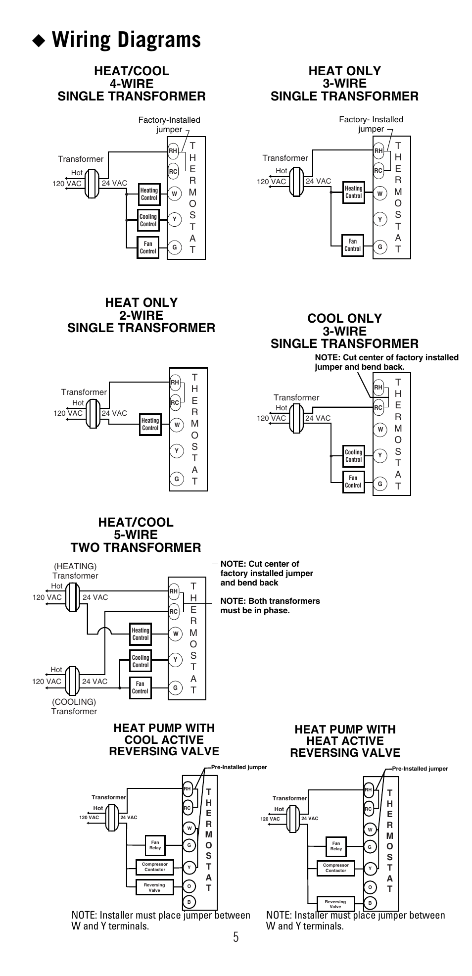Wiring diagrams, Heat pump with cool active reversing valve, Heat pump with  heat active