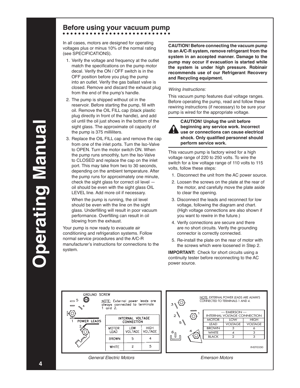 robinair model 15401 page4 operating manual, before using your vacuum pump robinair model