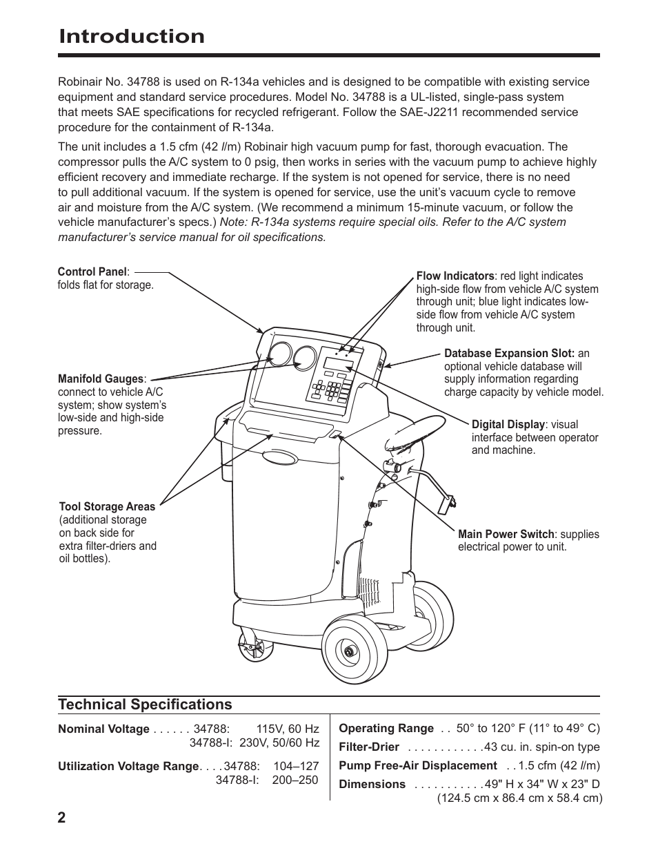Introduction Robinair 34788 I Recovery Recycling Recharging Unit Ac Wiring Diagram User Manual Page 4 24