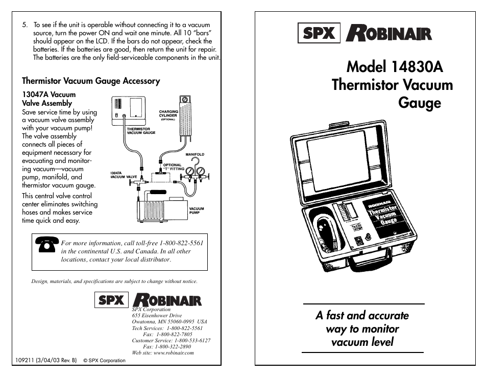 Robinair 14830A Thermistor Vacuum Gauge User Manual | 2 pages