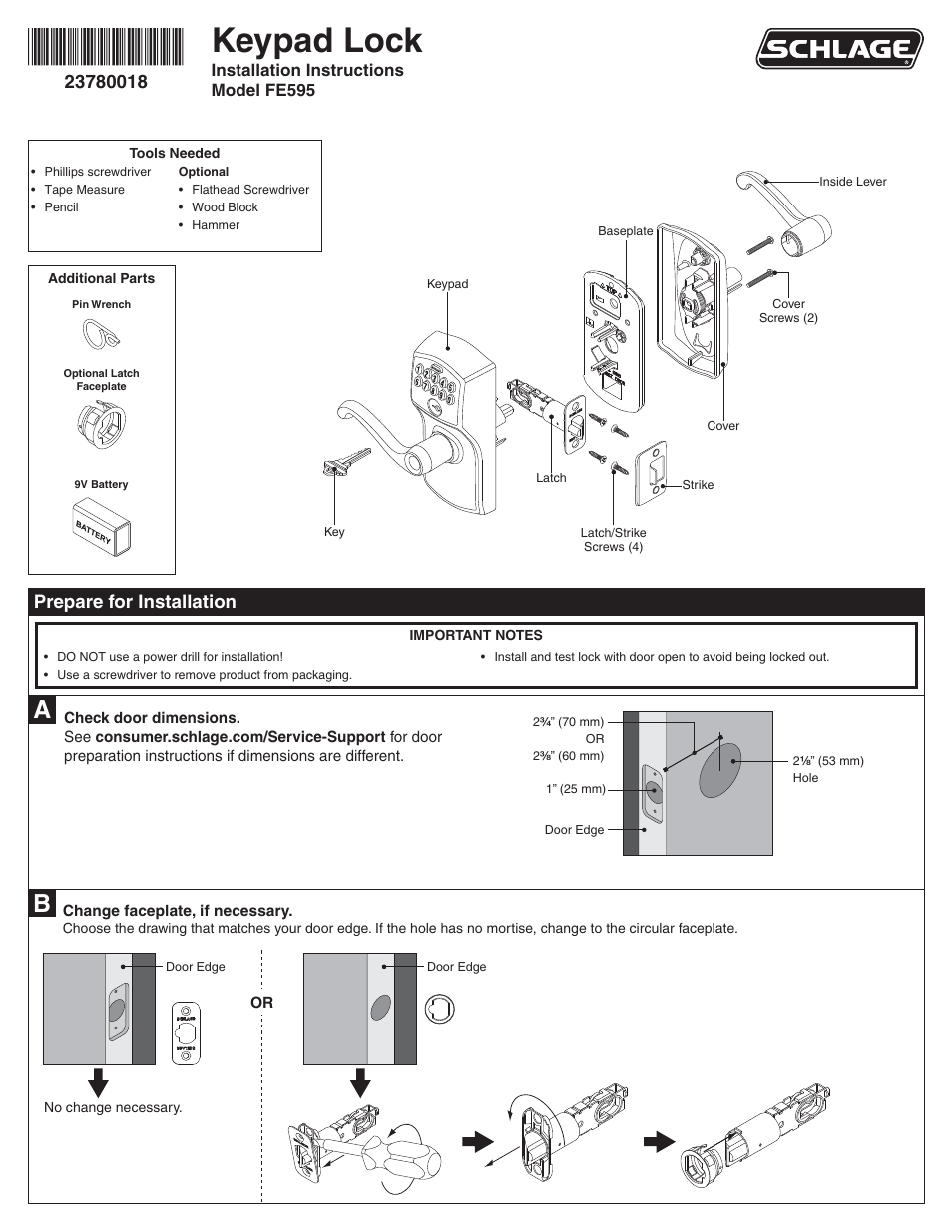 schlage fe595 installation user manual 8 pages rh manualsdir com schlage parts manual schlage handleset parts diagram