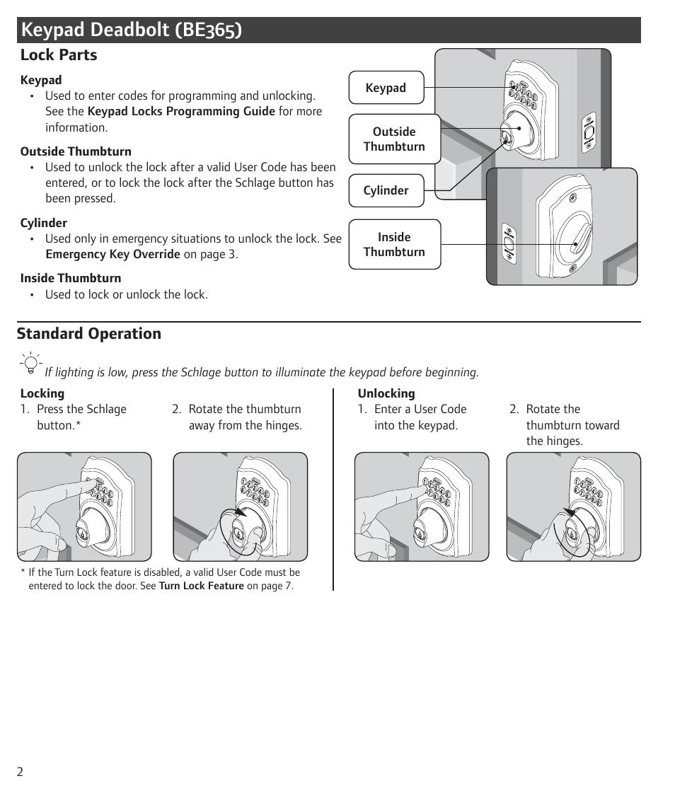 Keypad Deadbolt Be365 Lock Parts Standard Operation
