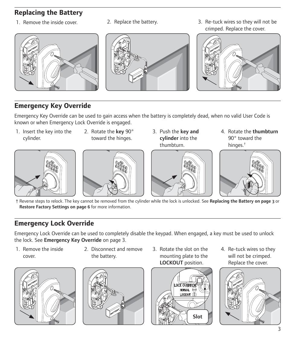 Replacing The Battery Emergency Key Override Emergency