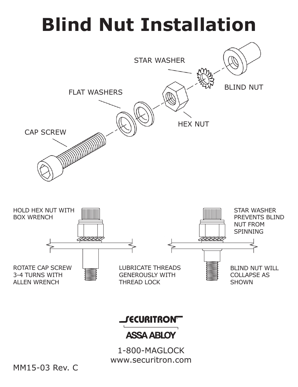 Securitron Blind Nut User Manual 1 Page Maglock Wiring Diagram