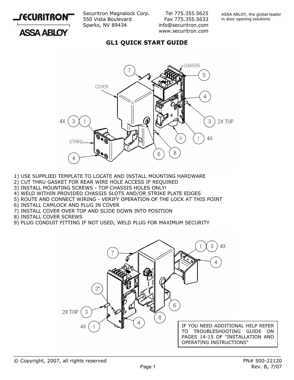 securitron gl1 quick start user manual 1 page rh manualsdir com Securitron GL1 GL1 Gun