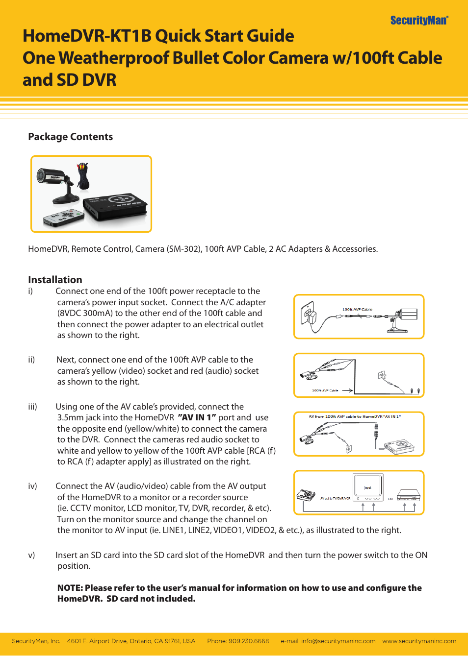 SecurityMan HomeDVR-KT1B User Manual | 1 page