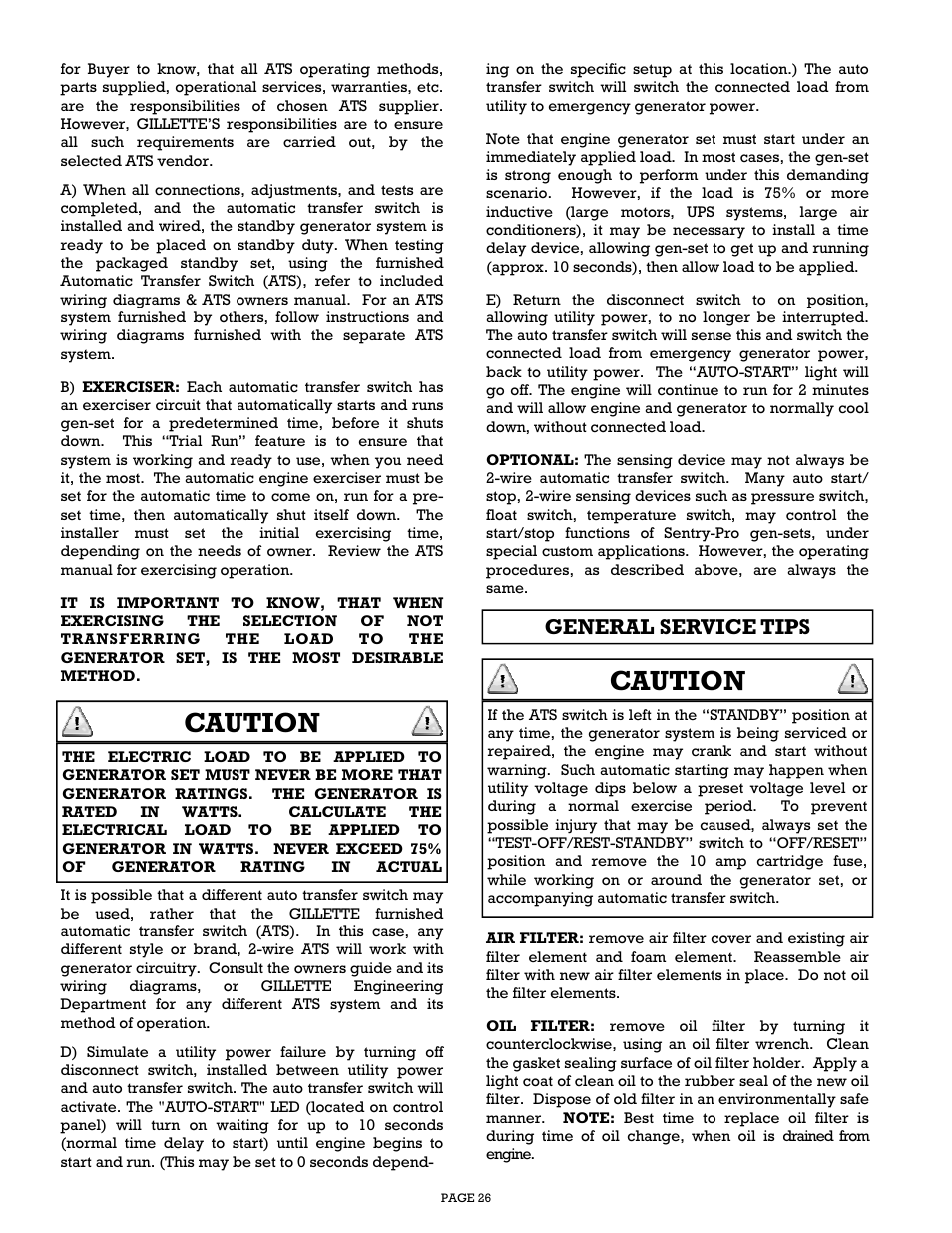Caution General Service Tips Gillette Generators Sp 1500 User Generator Transfer Switch Wiring Off Position Manual Page 26 30
