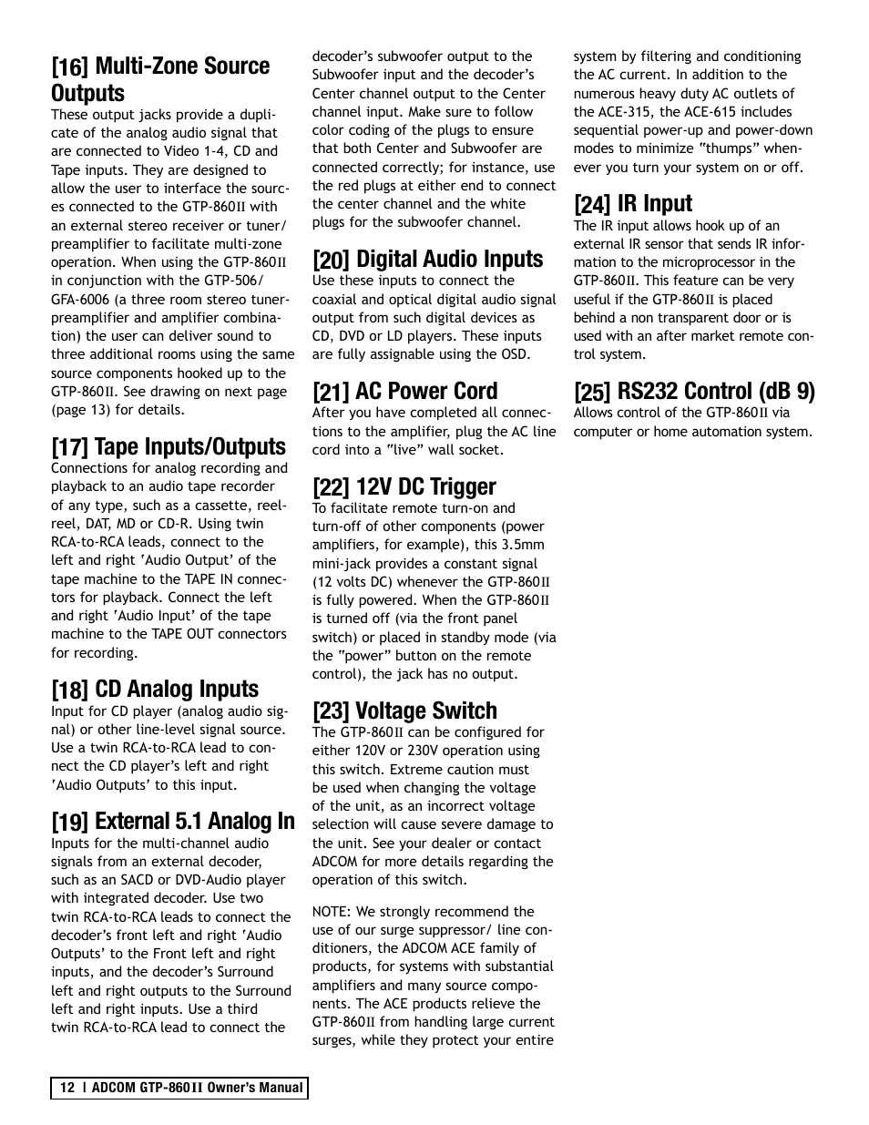 16] multi-zone source outputs, 17] tape inputs/outputs, 18] cd analog  inputs | Adcom GTP-860II User Manual | Page 12 / 32