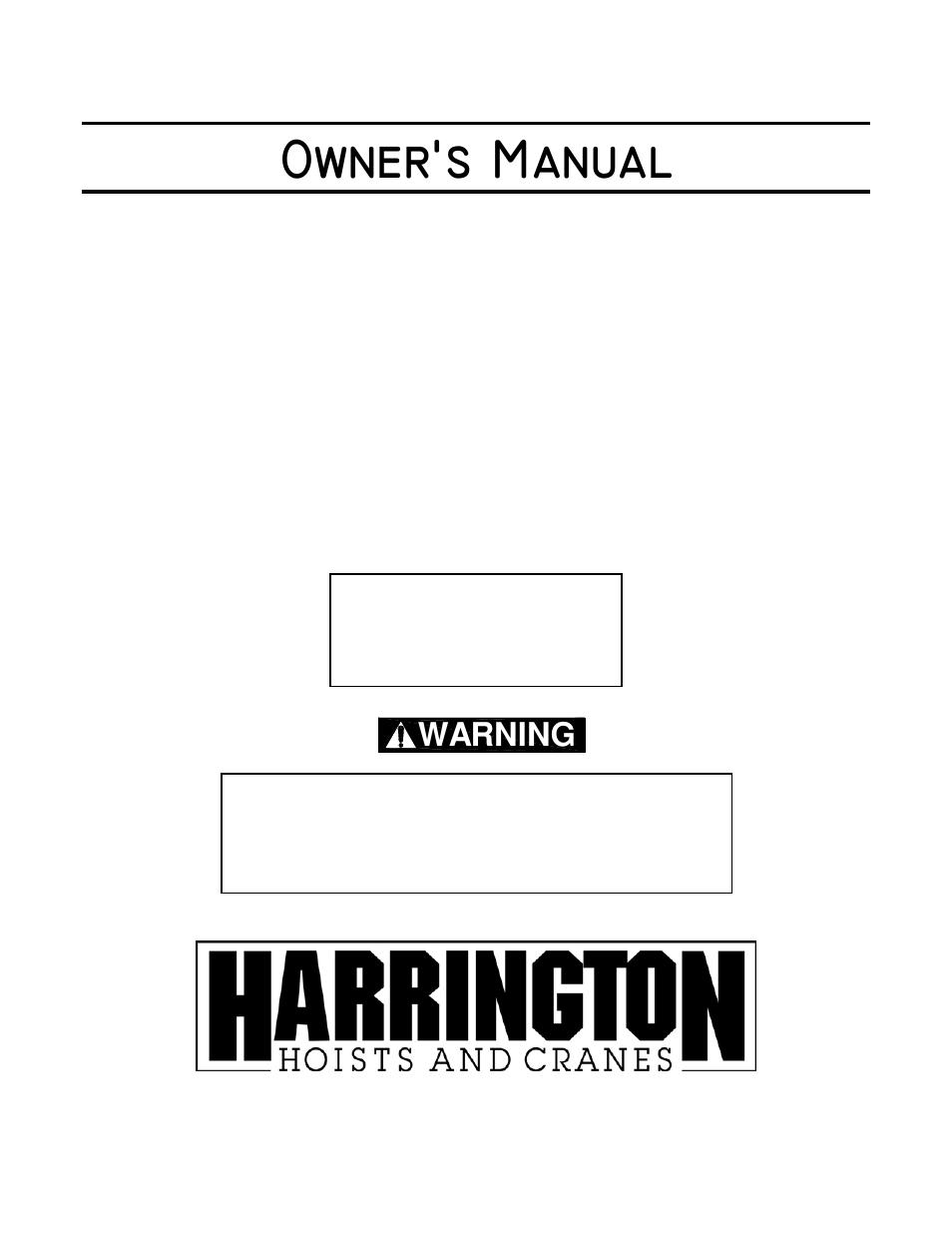 harrington hoists and cranes (n)er hoist - ((n)er1) user manual   72 pages
