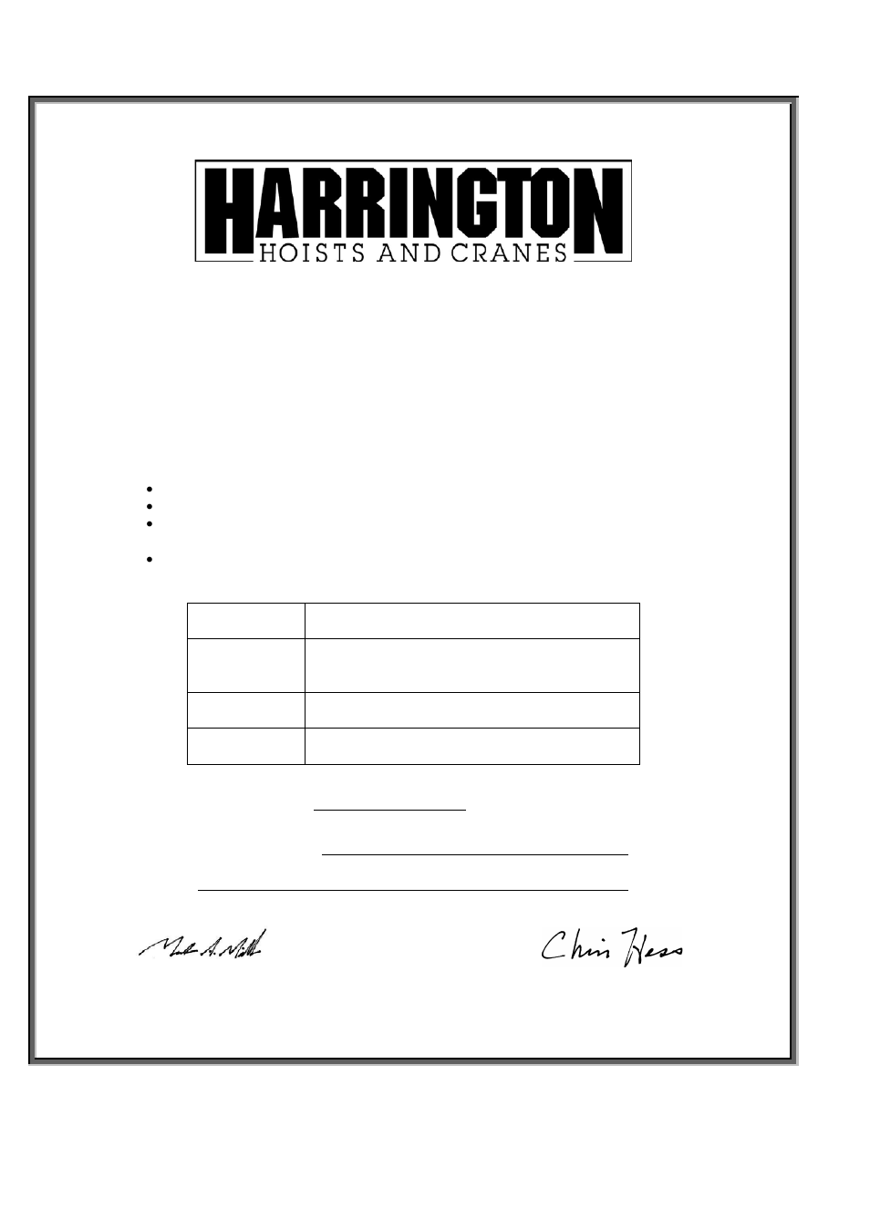Certificate Of Inspection And Test Universal Beam Clamp