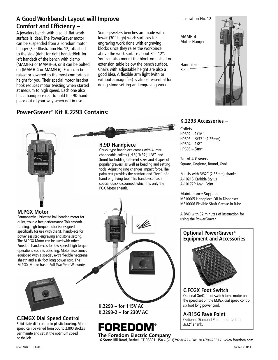Foredom, Powergraver, Kit k 2293 contains | Foredom Safety