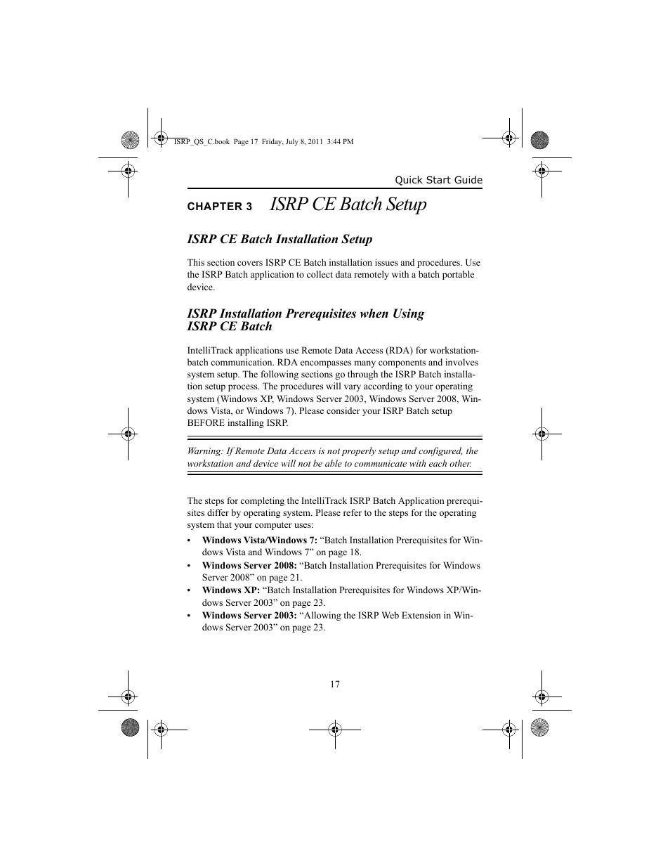 Chapter 3 isrp ce batch setup, Isrp ce batch installation