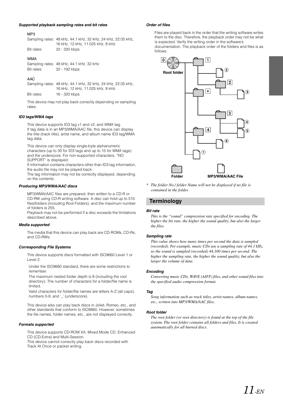 Terminology | Alpine CDE-102 User Manual | Page 13 / 31
