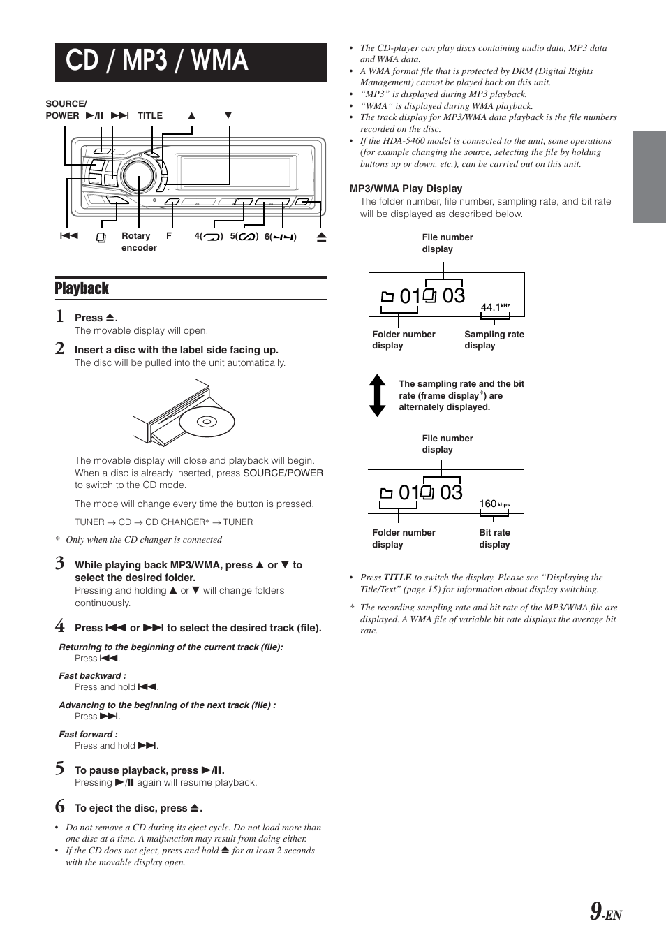 cd mp3 wma playback alpine cda 9851 user manual page 10 rh manualsdir com Alpine CDA 9851 iPod Cable Alpine CDA 9851 Owner's Manual