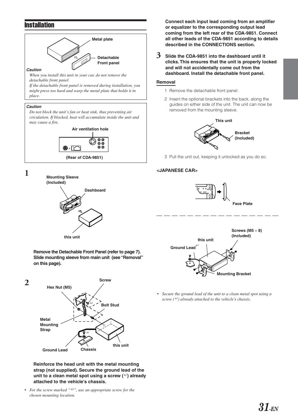 installation alpine cda 9851 user manual page 32 103 rh manualsdir com Alpine Cda- 9858 Alpine CDA 9851 iPod Cable