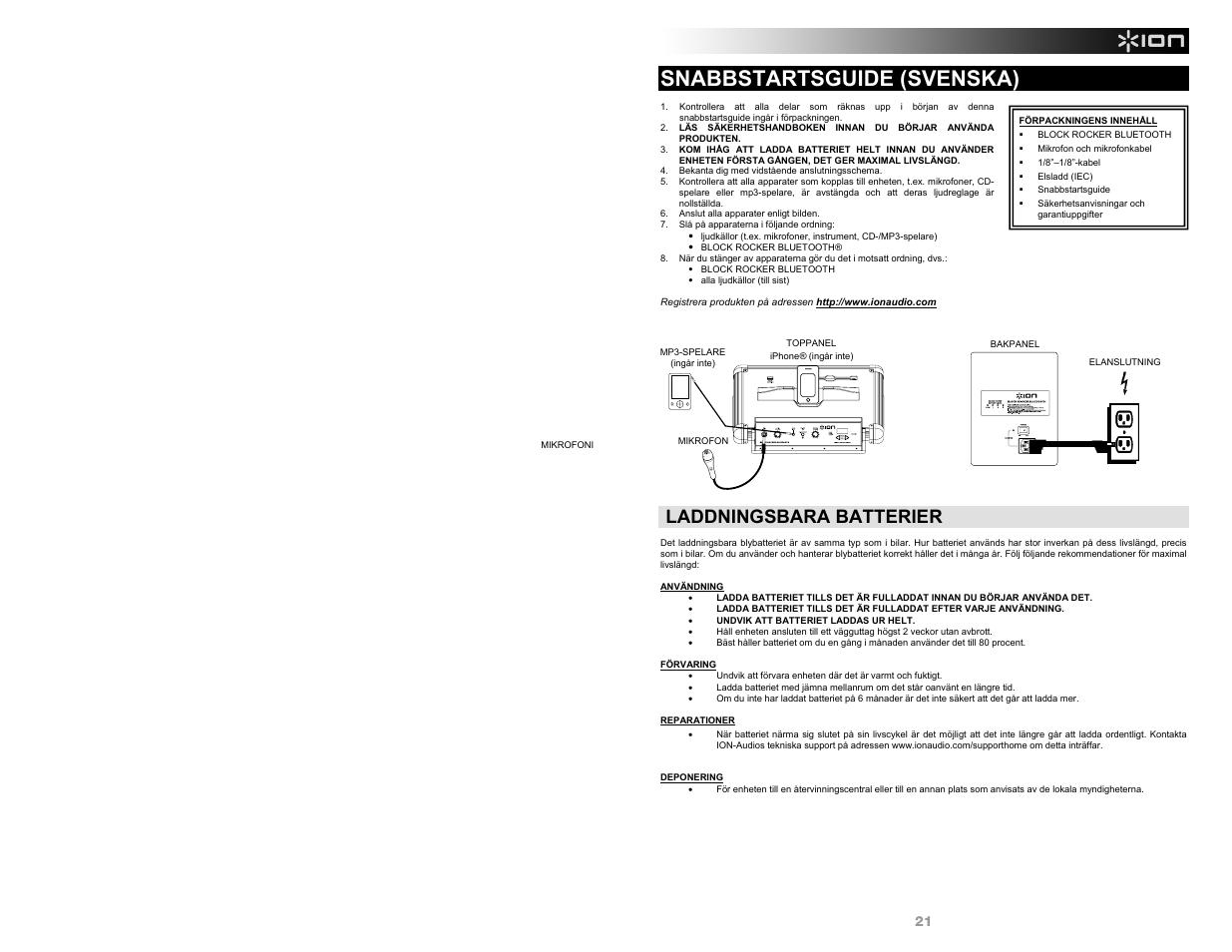 Snabbstartsguide (svenska), Laddningsbara batterier | ION Audio Block Rocker  Bluetooth - iPA56B User