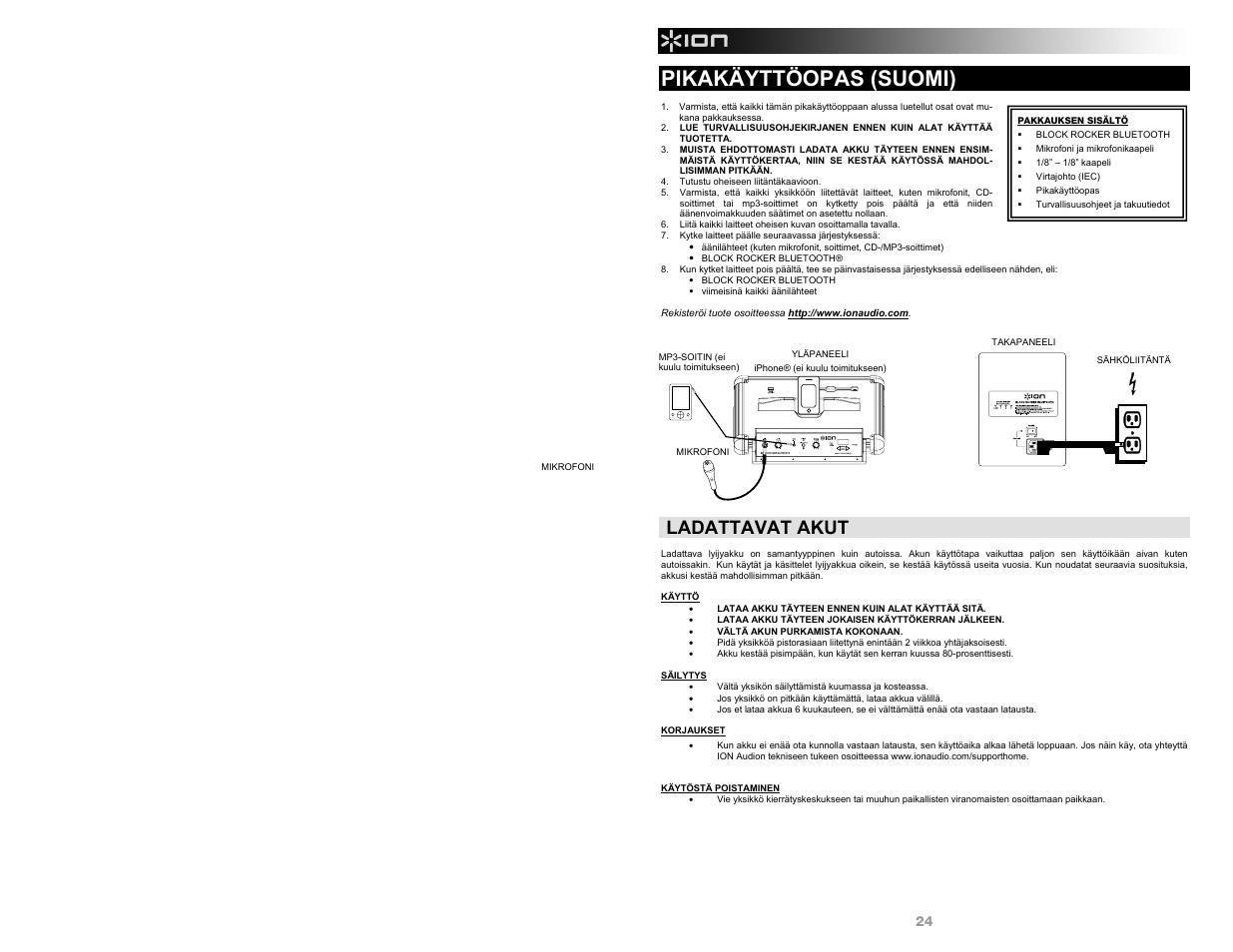 Pikakäyttöopas (suomi), Ladattavat akut | ION Audio Block Rocker Bluetooth  - iPA56B User