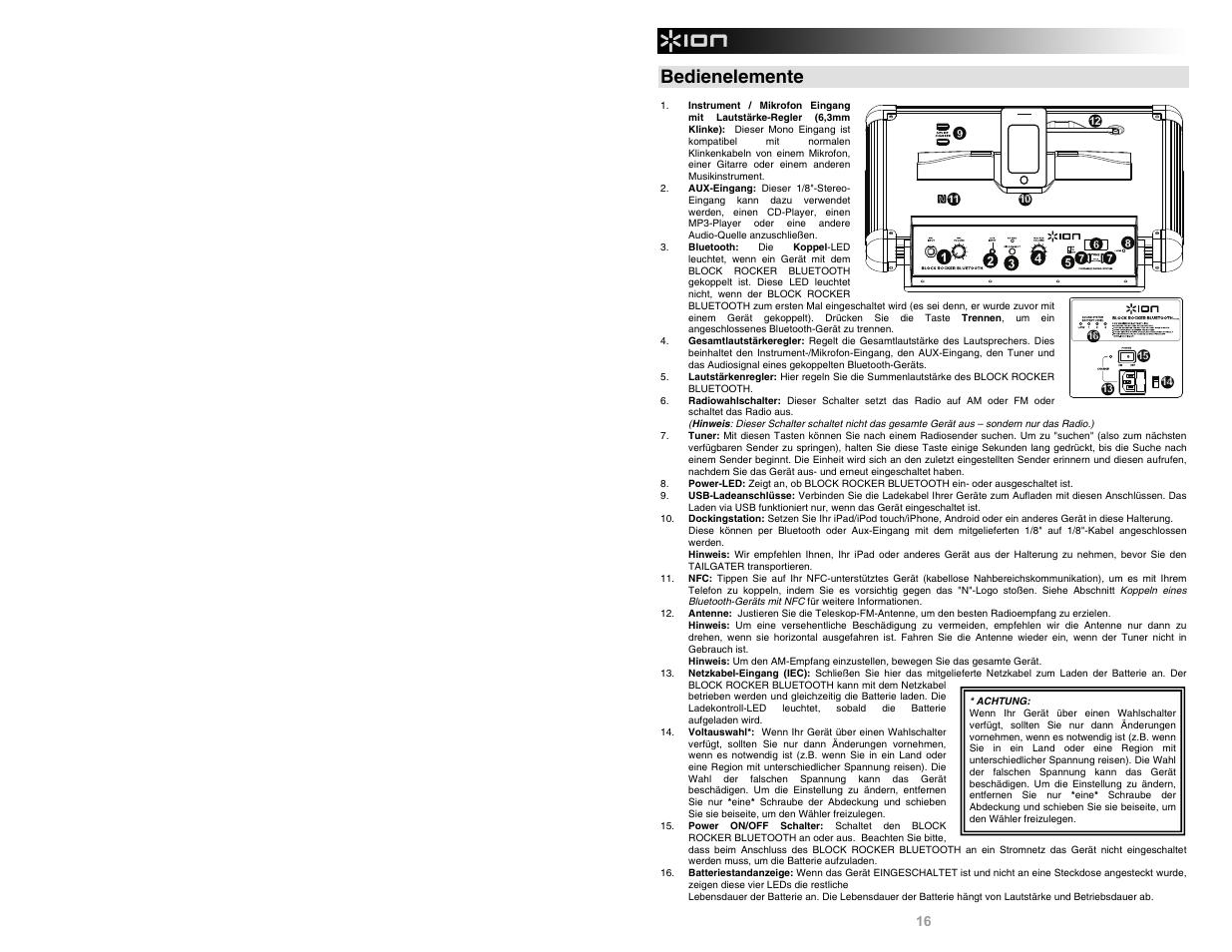 Bedienelemente | ION Audio Block Rocker Bluetooth iPA56C User Manual | Page  16 / 24