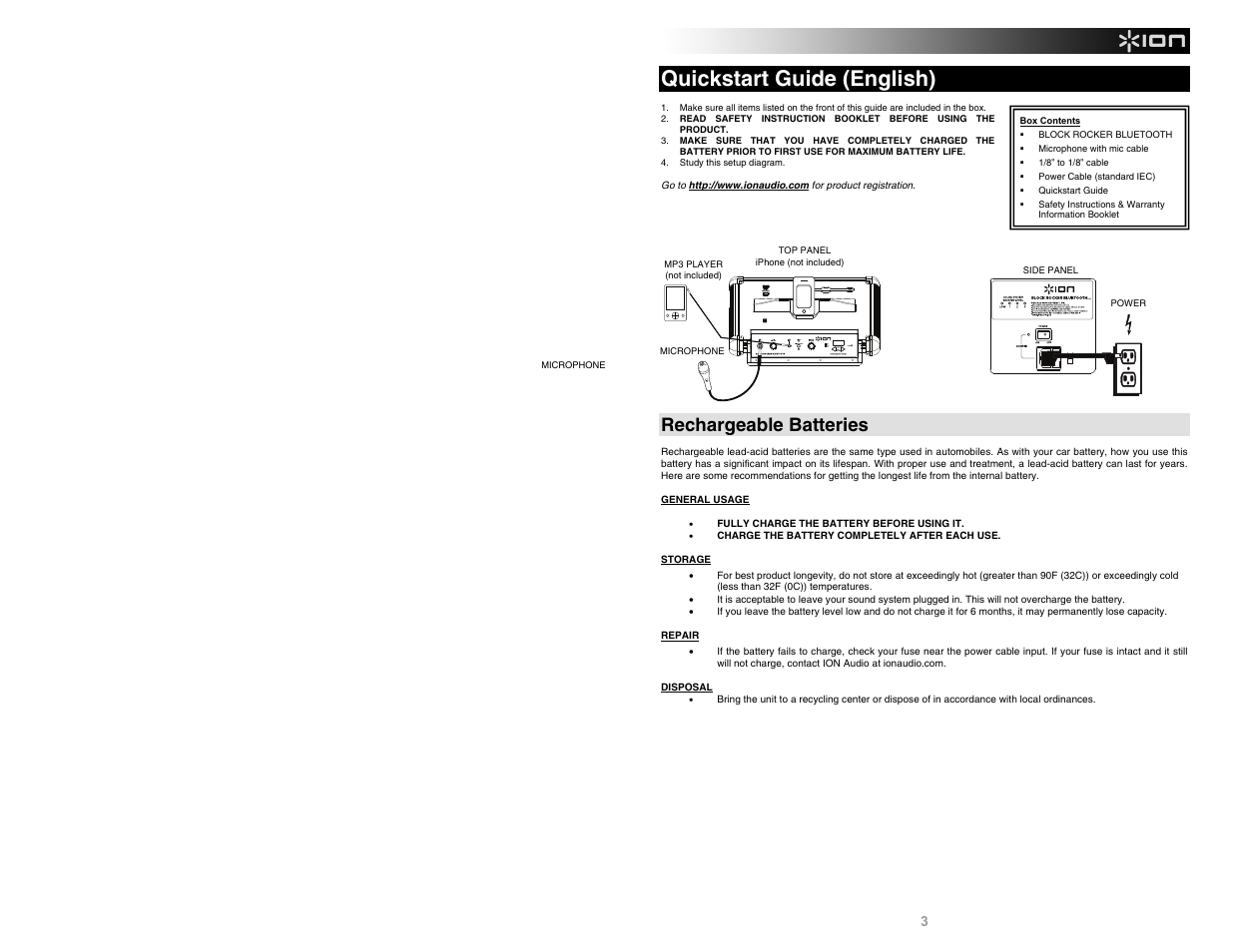 Quickstart guide (english), Rechargeable batteries | ION Audio Block Rocker  Bluetooth iPA56C User Manual | Page 3 / 24