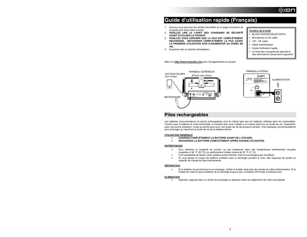 Guide d'utilisation rapide (français), Piles rechargeables | ION Audio Block  Rocker