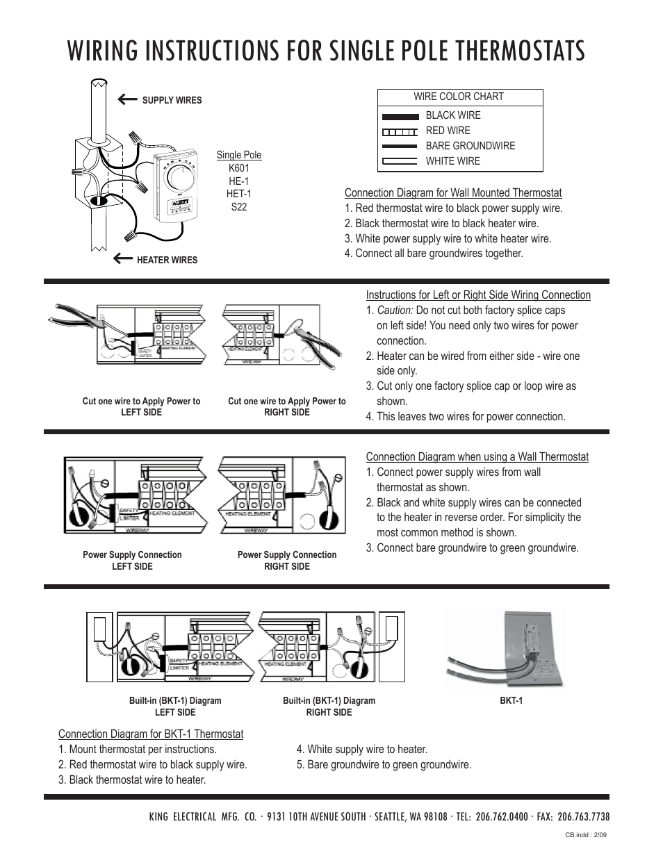 Wiring instructions for single pole thermostats | King Electric Model CB  User Manual | Page 2 / 4