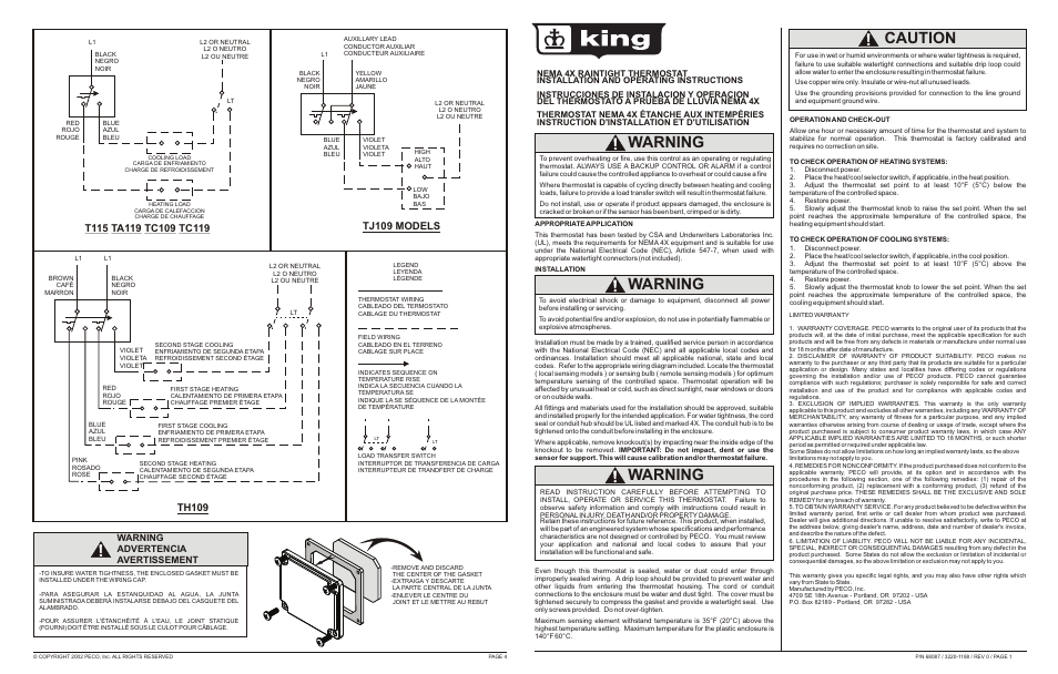 King Electric N E M A 4X TH109 User Manual | 2 pages | Also